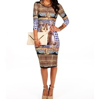 Gold/Black/Blue Egyptian Dress