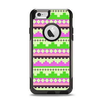The Lime Green & Pink Tribal Ethic Geometric Pattern Apple iPhone 6 Otterbox Commuter Case Skin Set
