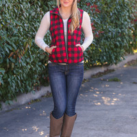 Check Puffer Vest - Black and Red