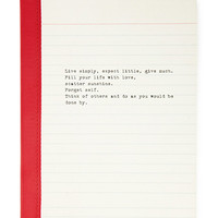 FOREVER 21 Live Simply Lined Journal Cream/Red One