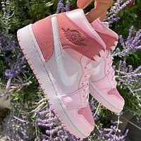 Air Jordan 1 Mid 'Digital Pink' High Top Women's Sneakers Basketball Shoes