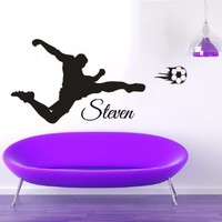 Wall Decals Vinyl Decal Sticker Children Kids Nursery Baby Room Bedding Interior Design Home Decor Soccer Goal Custom Man Personalized Name Sport Football Player Kg868