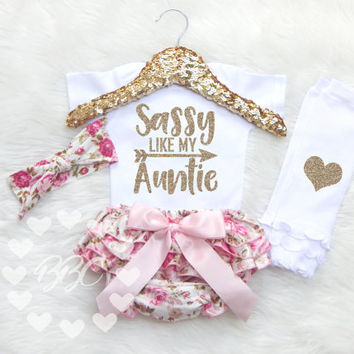 Baby Girl Clothes, Baby Girls Outfit, Sassy Like My Auntie, Aunt, Girl's Clothing Set, Glitter Clothes, Baby Shower Gift, Best Aunt, Niece