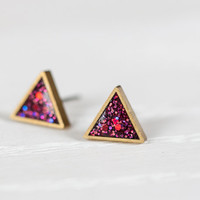 Triangle Post Earrings in Ruby Sparkle- Hypoallergenic Studs