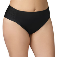 Plus Size - Black Ruched Side Swim Bottom - Black