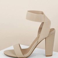 Nude Open Toe Elastic Strap Block Heel Sandals