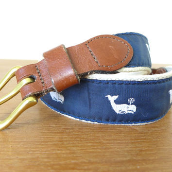 Preppy kids Leather Man whale belt, embroidered whale ribbon with leather and brass buckle