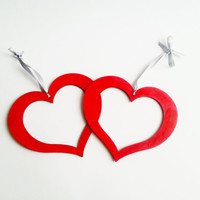 Red heart hanging decoration, wooden decor,