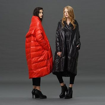 2016 plus sizes women's quilted jackets long puffer jacket long down jacket women women down cloak cloaks jacket woman 5xl loose
