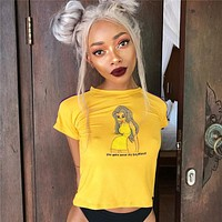 Women Casual Fashion Cartoon Print Webbing Short Sleeve Tight T-shirt Crop Tops Tee