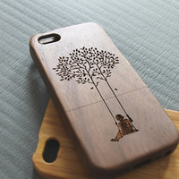 Walnut wood iphone 5 case iphone 5s case swing tree iphone 5 case