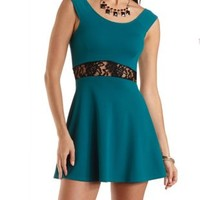 Lace-Waisted Skater Dress by Charlotte Russe