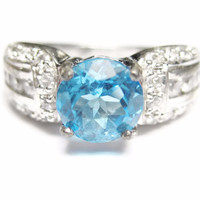 Blue and White Zircon Sterling Engagement Ring Size 6