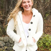 Hooded Cardigan with Faux Fur Lining - Ivory