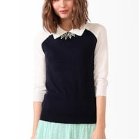 FOREVER 21 Collared 3/4 Sleeve Sweater Navy/Cream Large