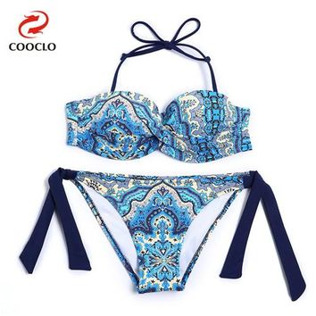 Bikini Set beach body COOCLO Bandeau Top Print  2018 Swimsuit Women Swimwear Bathing Suit Maillot De Bain Biquini Push up Swim Beach Wear