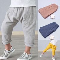 2-7y Summer Solid Color Linen Pleated Children Ankle-length Pants for Baby Boys Pants Harem Pants for Kids Child