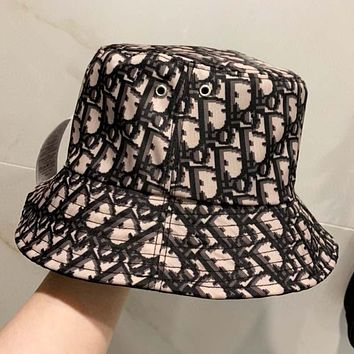 Dior Fashion new more letter print canvas fisherman hat cap