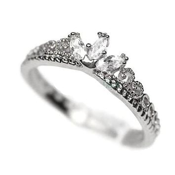 White Gold Plated CZ Dainty Princess Crown Ring - (Silver tone)