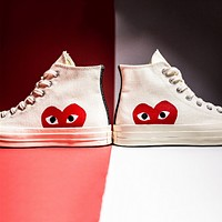 Vogew Converse Play Fashion Casual Loving Heart Reflective Sneakers High Top With Low Top Sport Shoes White