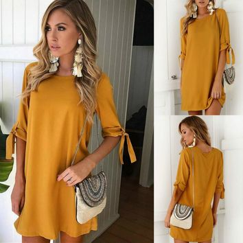 Women Bowknot Short Sleeve Mini Bodycon Tops Casual Loose Long Party Cocktail Outfits Clubwear
