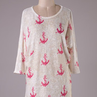 3/4 Tunic Sleeve Top - Ivory and Pink Anchor Print