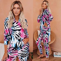 Casual tie-dye home service suit long-sleeved hooded sweater trousers two-piece women Zebra pattern blue pink print