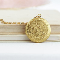 Gift For Her - Floral Locket Necklace - Gold Locket Picture - Long Locket Necklace - Wedding Locket Gold - Photo Locket - Long Necklace