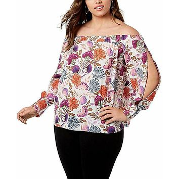 INC Women's Plus Size Off-The-Shoulder Split Sleeves Floral Blouse, Pink