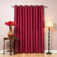 "Burgundy Wide Width Basic Solid Grommet Thermal Insulated Blackout Curtains 80""""W X 95""""L"