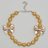 #24 Gold Bow Chunky Bubblegum Necklace