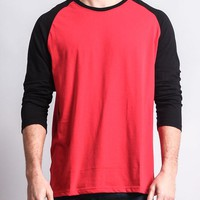 Men's Baseball T-Shirt (Red/Black)