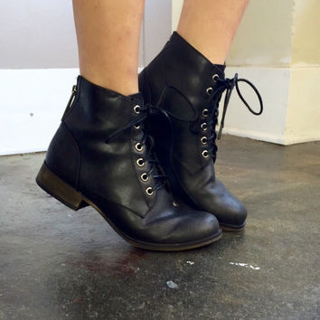 A Black Lace Up Summer Bootie