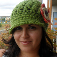Newsboy Hat with FlowerOlive Green You Pick by SoLaynaInspirations