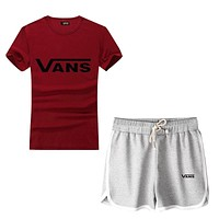 """VANS"" Print Short sleeve Top Shorts Pants Sweatpants"