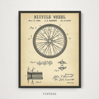 Bicycle Wheel Patent, Bicycle Poster, Digital Download, Bicycle Print, Bike Wall Art, Printable Blueprint Artwork, Bike Wheel Illustration