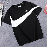 NIKE Summer New Fashion Letter Hook Print Women Men Top T-Shirt Black