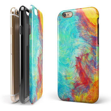 Vibrant Colored Messy Painted Canvas iPhone 6/6s or 6/6s Plus 2-Piece Hybrid INK-Fuzed Case