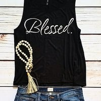 Blessed Graphic Tank Top-Black