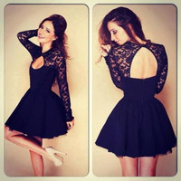 Sexy Women Fashion  Black Floral Lace Long Sleeve Backless Evening Party Bodycon Mini Dress Formal Ball Prom Gift Idea Trending
