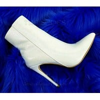 """Amanda Pointy Toe 4.5"""" High Heel White Pearl Ankle Boots 7-11"""