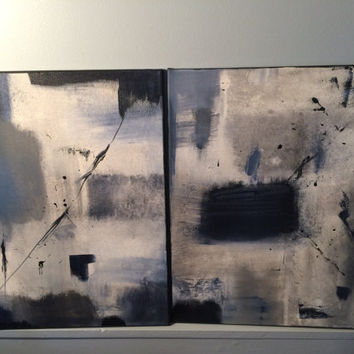 Original set of 2 16x20 abstract paintings on canvas's with acrylic. Grey, gray, blue, white