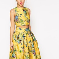 ASOS Structured Lace And Floral Shell Top
