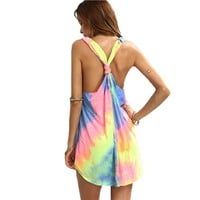 Women's Short Summer Dress - Casual Ladies Multicolor Tie-dye V Neck Sleeveless Knotted Shift Dress
