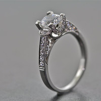 14kt White Gold Art Deco Design Engagement Ring, Wedding Ring with Diamonds and 1ct White Sapphire center