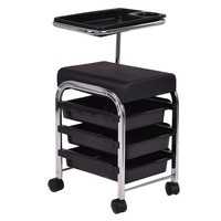 Giantex Black Pedicure Manicure Nail Cart Trolley Stool Chair Salon SPA With Shelves