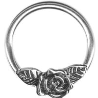 A-16 gauge Earring-One 16g 3/8 inch Rose Flower Captive Ring-Cartilage Earring-Tragus-Helix Earring