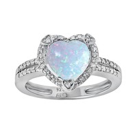 Sterling Silver Lab-Created Opal & Diamond Accent Heart Frame Ring (White)