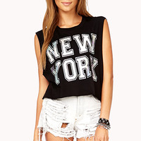 FOREVER 21 New York Hologram Muscle Tee Black/Silver