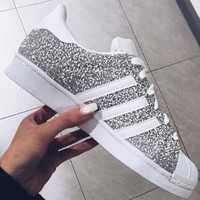 """""""Adidas"""" Fashion Shell-toe Flats Sneakers Sport Shoes Silver"""